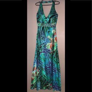 Halter Neck Printed Dress/ Gown